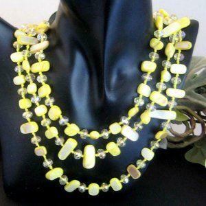 Vtg 3 strand Necklace yellow MOP & Aurora Borealis